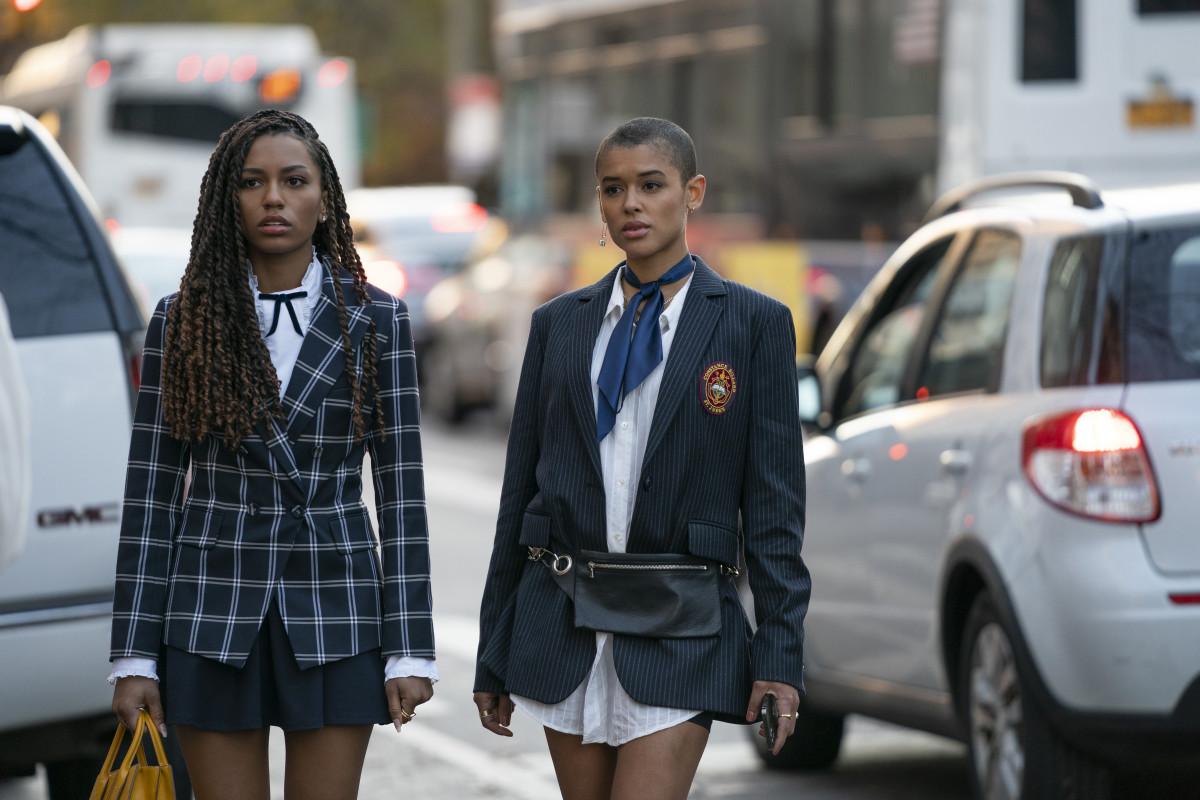 Monet de Haan (Savannah Lee Smith) and Julien Calloway (Jordan Alexander) in different takes on dress codes.