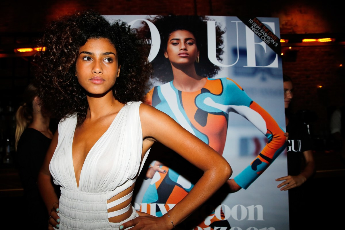 Dutch model Imaan Hammam at a launch party for her 'Vogue' Netherlands September Issue cover in 2015.