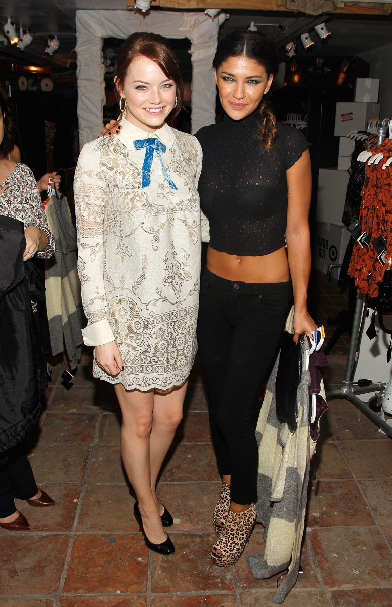 Emma Stone in a Blair Waldorf-inspired dress from Anna Sui for Target with Jessica Szohr at the release of the designer's collaboration for the retailer in Sept. 2009.