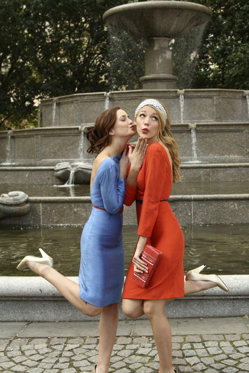 Blair Waldorf and Serena van der Woodsen in matching 'Eleanor Waldorf' designs by Abigail Lorick.