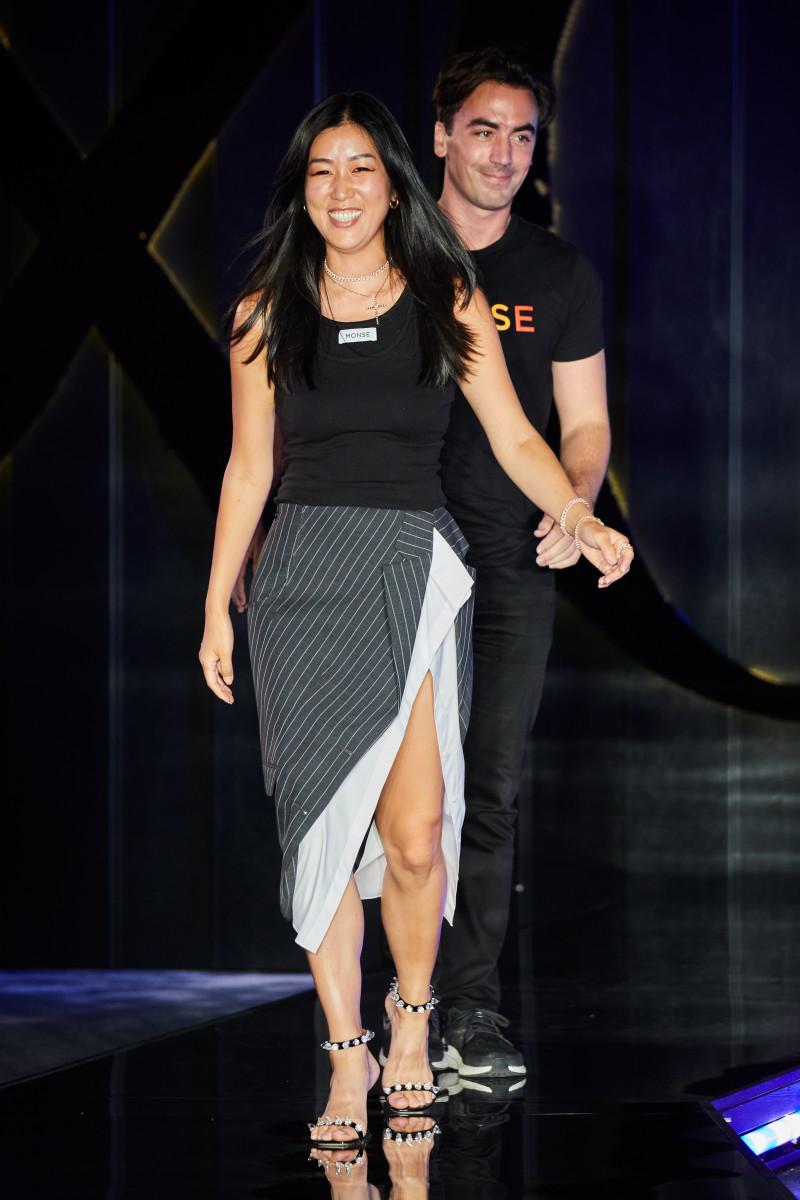 Laura Kim and Fernando García on the runway at Monse's Fall 2021 show.