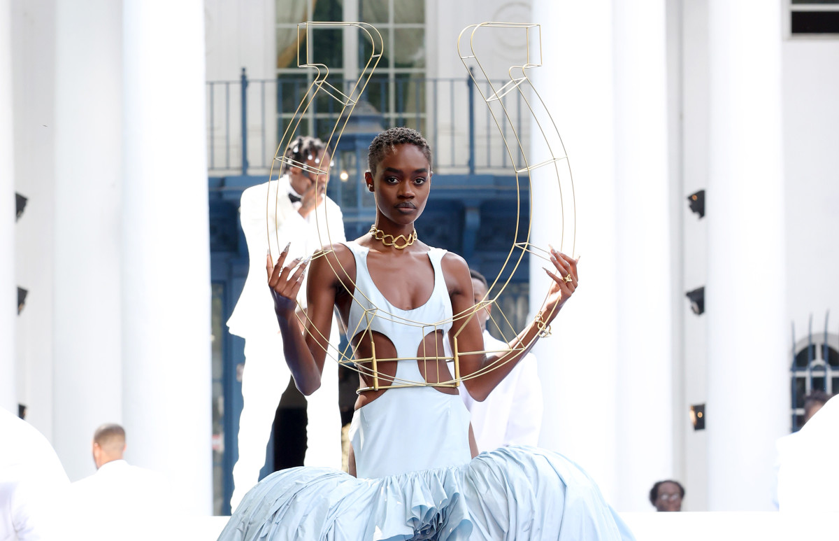 A model walks the runway during the Pyer Moss Couture Haute Couture Fall:Winter 2021:2022 show
