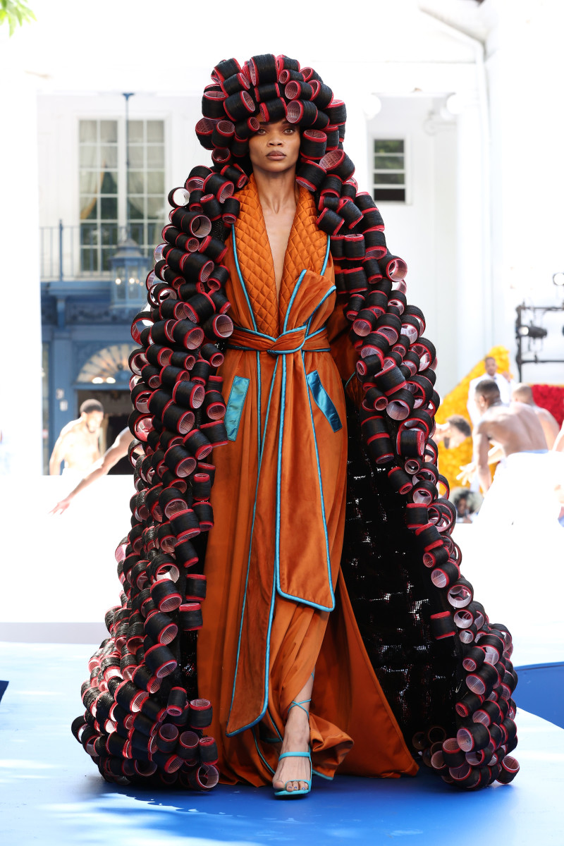 A model walks the runway during the Pyer Moss Couture Haute Couture Fall:Winter 2021:2022 show 4