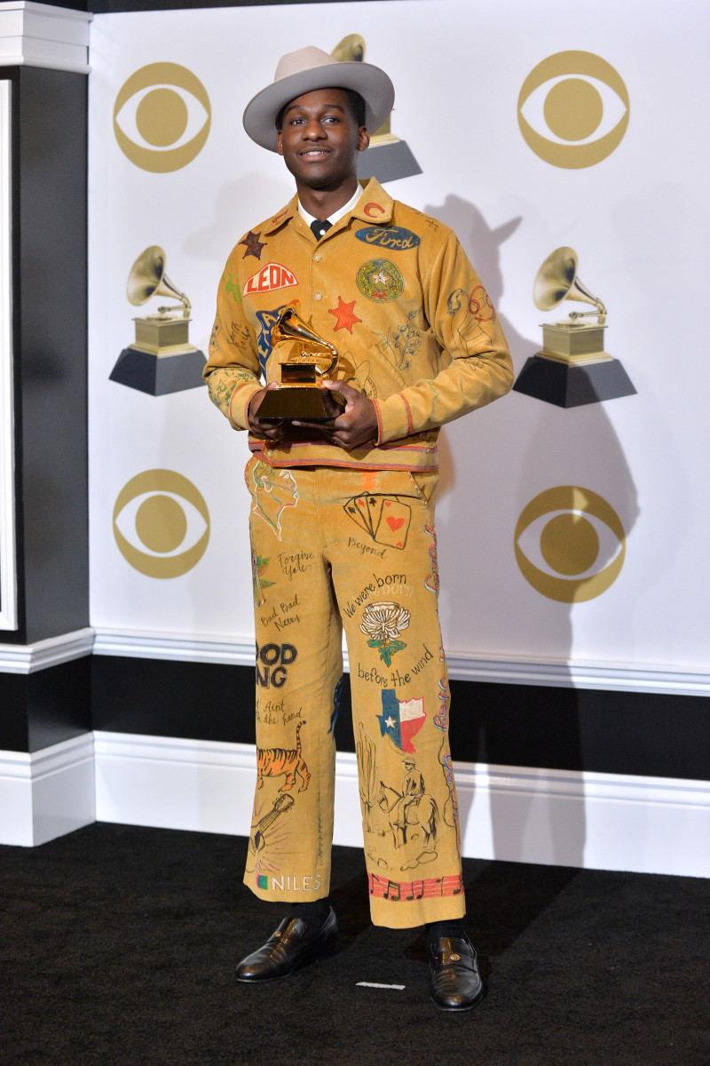 Leon Bridges in custom Bode at the 2019 Grammys.