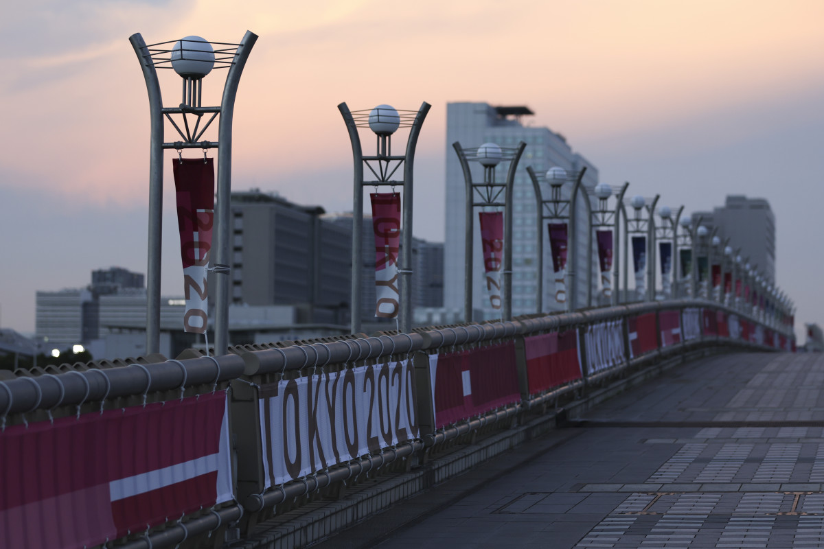 """General view of """"Tokyo 2020"""" signage on the Dream Bridge ahead of the Tokyo 2020 Olympic Games"""