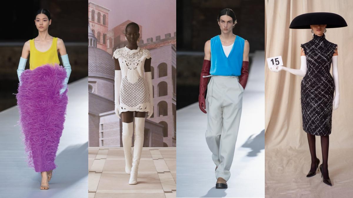 From L to R: Valentino, Fendi, Valentino, Balenciaga, all Fall 2021 couture