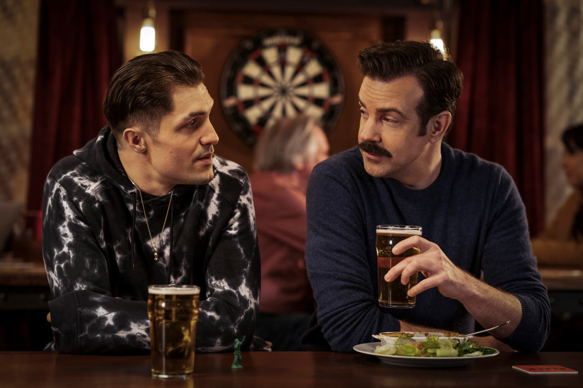 Jamie Tartt (Phil Dunster) unveils a new look over pint with Ted.