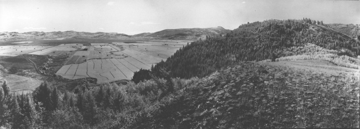 Historic aerial images of Grand Teton National Park's hayfields.