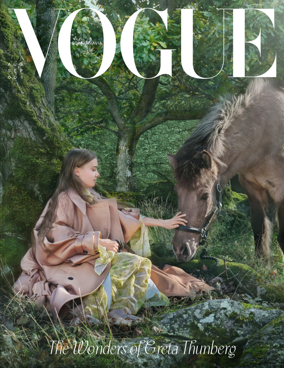 """Greta Thunberg on the first cover of """"Vogue"""" Scandinavia."""