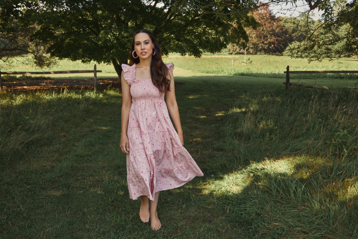 Harris in the Hill House Home x Phenomenal x Netflix Ellie Floral Pink Nap Dress ($125).