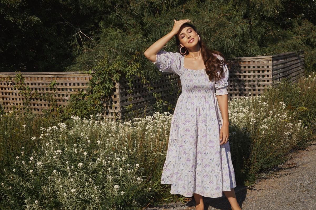 Meena Harris in the Hill House Home x Phenomenal x Netflix Nesli Whistledown Trellis Nap Dress ($125).