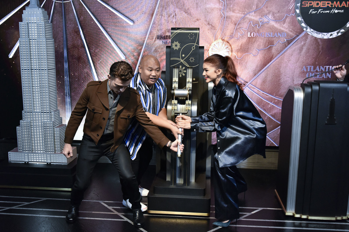 Tom Holland, Jacob Batalon, and Zendaya attend the Spider-Man Far From Home Cast Light Up The Empire State Building on June 24, 2019