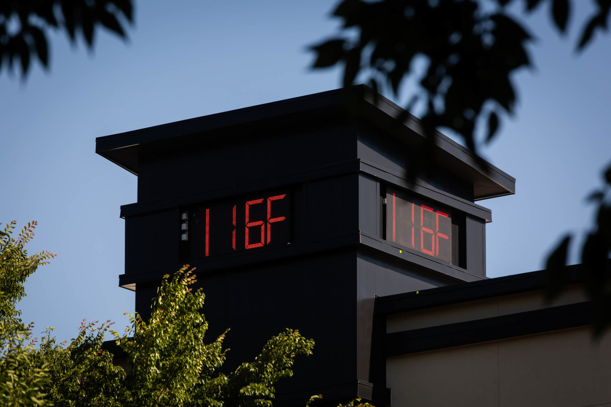 A thermometer in Portland reading 116 degrees Fahrenheit during the Pacific Northwestern heat wave in June.
