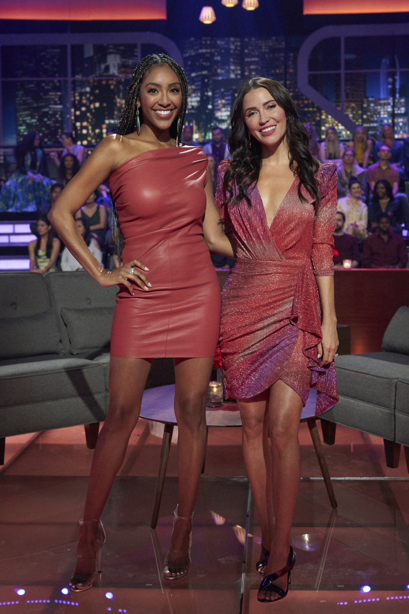 """Tayshia Adams, with co-mentor Kaitlyn Bristowe, wearing Rick Owens to Katie Thurston's """"Men Tell All."""""""