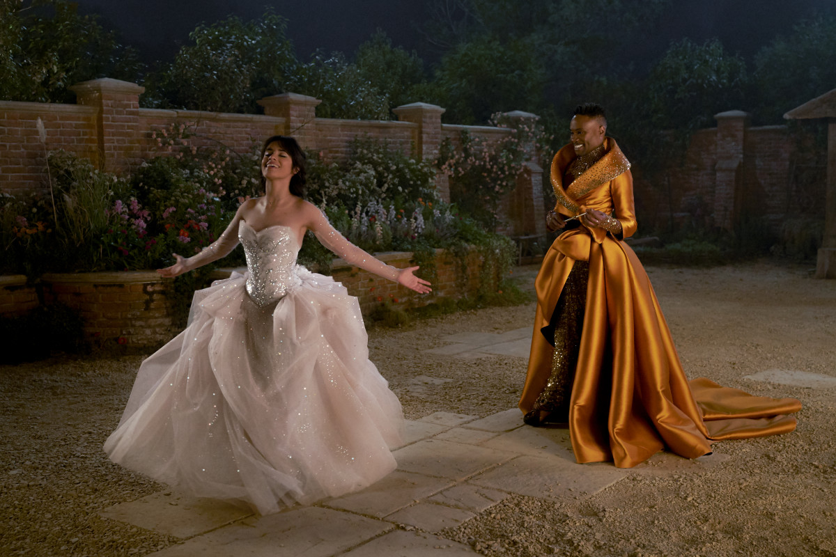 Fab G (Billy Porter) brings Cinderella's fantasy gown to life.