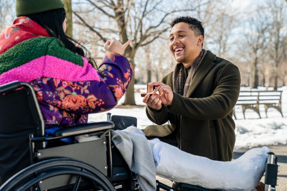 Nora (Awkwafina) in her dream coat with Daniel (Jaboukie Young-White).