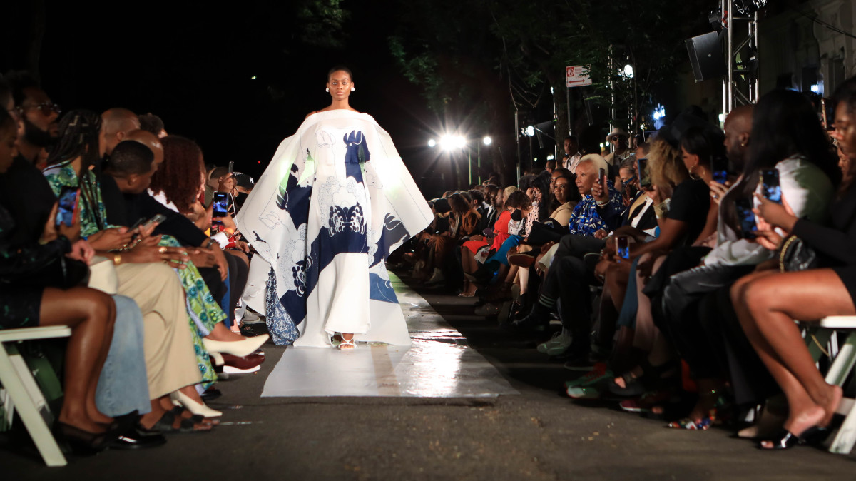 A model walks the runway for Harlem's Fashion Row - September 2021 at New York Fashion Week